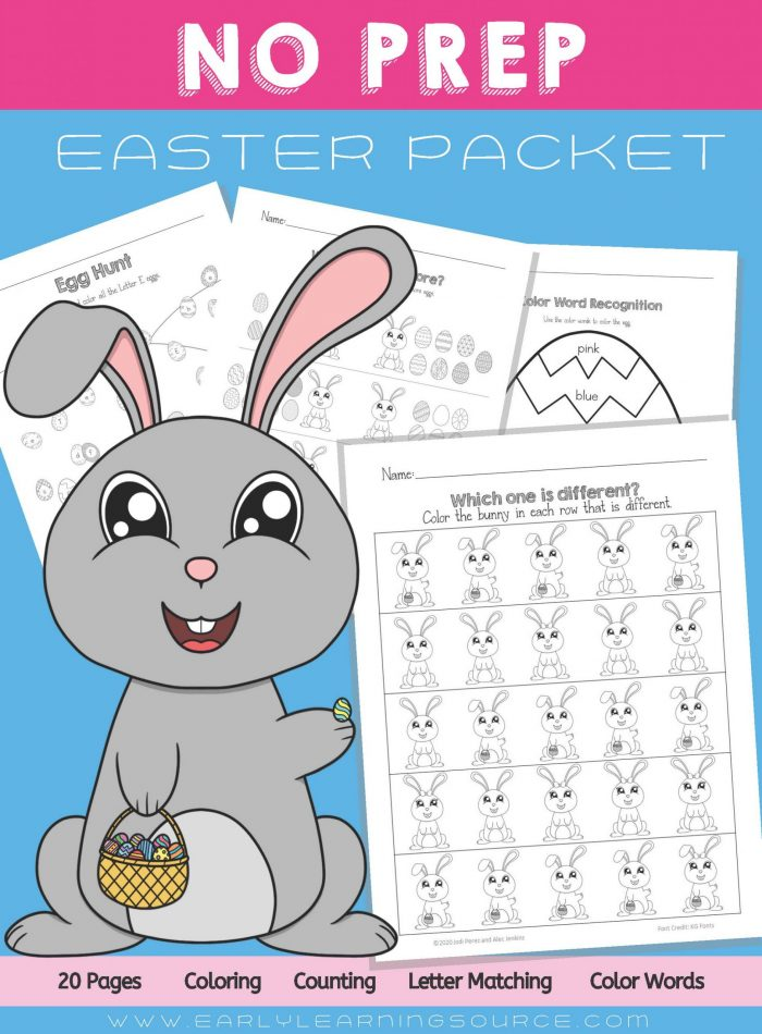 Preschool No Prep Easter Packet Cover features three pages and a large bunny