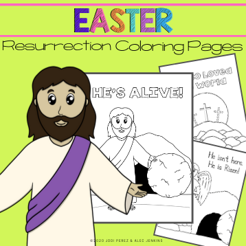 Jesus Is Alive! Resurrection Coloring Page on Sunday School Zone | 358x358