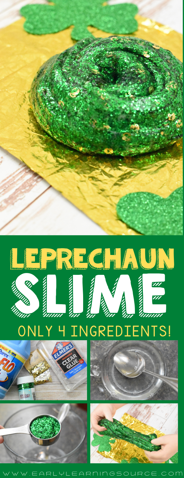 "Green Glittery Slime with caption ""Leprechaun Slime"""