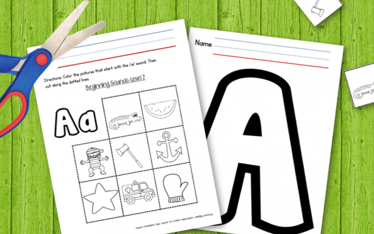 Beginning Sounds Practice: Cut and Paste Worksheets