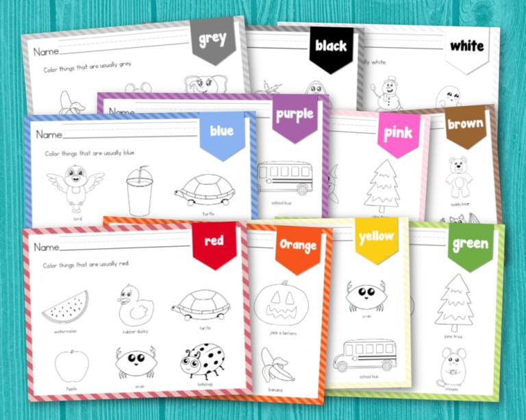 Color Recognition Worksheets for Preschool