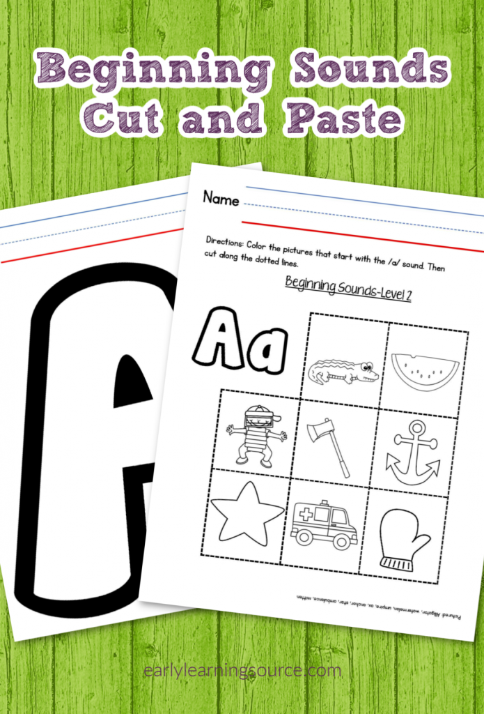 Beginning Sounds Practice: Cut And Paste Worksheets - Early Learning Source